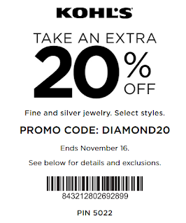 Kohls coupon 20% OFF Fine and silver jewelry nov 2017