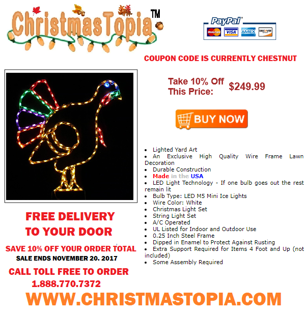 Lighted #Thanksgiving Turkey Decoration is a Wonderful Way to Commence The #Holidays at Your Home or Business #Christmas