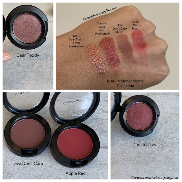 MAC dear teddy dare to diva eyeshadows and apple red diva don't care blushes