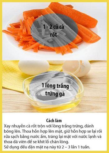mặt nạ cà rốt và trứng chống lão hóa