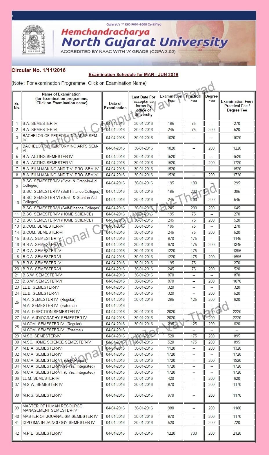 hngu patan university jun exam time table scheduled hngu patan university jun 2016 exam time table scheduled