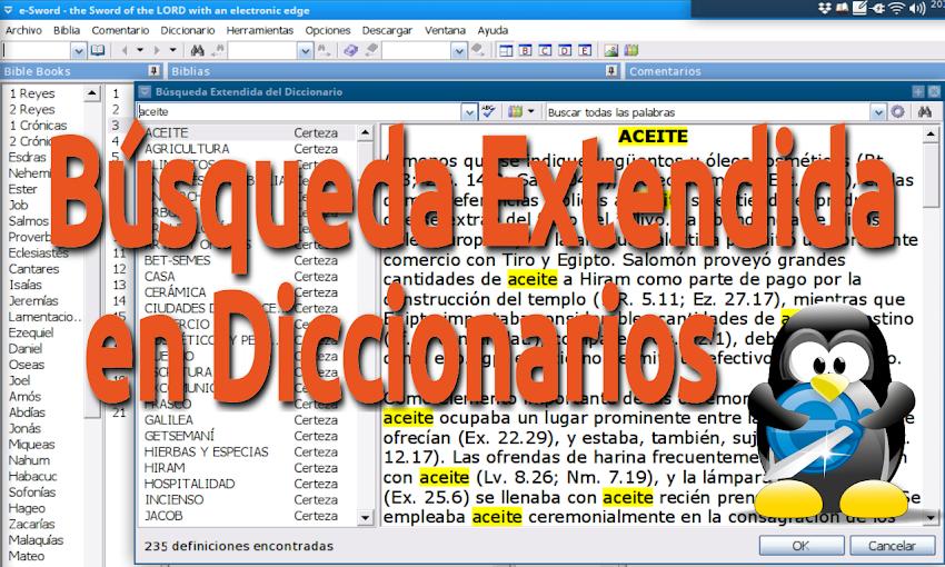 Cómo hacer búsquedas extendidas en Diccionarios en e-Sword