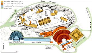 Mapa de la Acrópolis de Atenas.