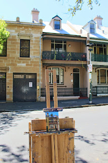 plein air oil painting of terrace house in Millers Point by artist jane Bennett