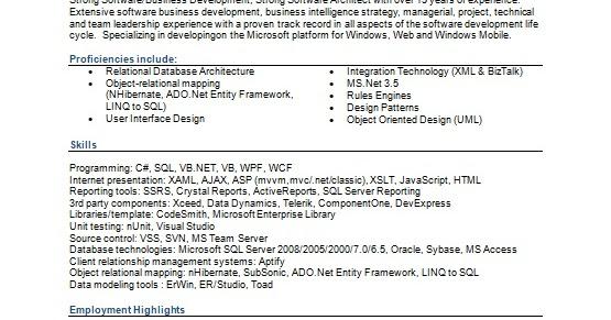 senior architect sample resume format in word free download