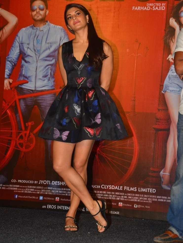 Indian Actress Jacqueline Legs Thighs Show In Mini Black Skirt