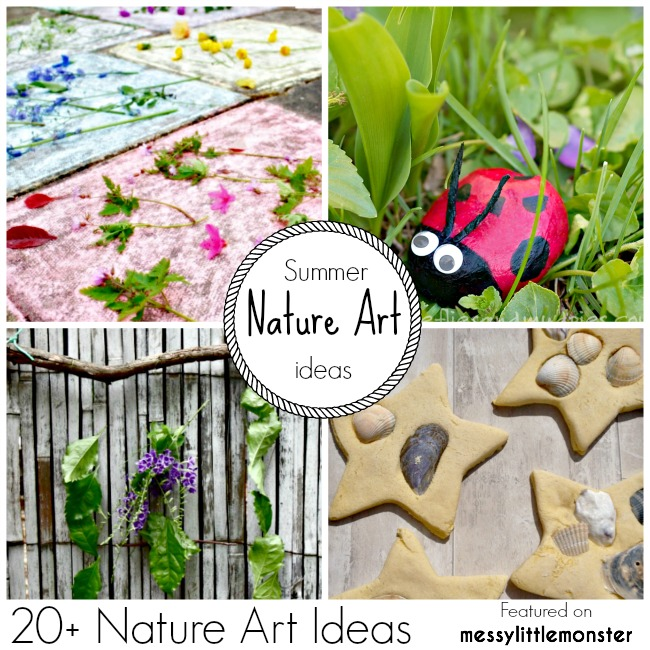 Summer Nature Art and Craft Ideas for Kids. 20 fun outdoor activity ideas using nature for toddlers, preschoolers and older kids to enjoy.