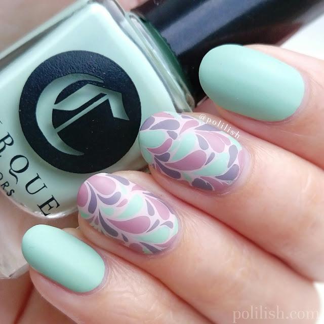 Retro reverse stamping nail art design | polilish