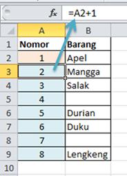 Contoh Rumus Excel Penjumlahan Nomor Urut