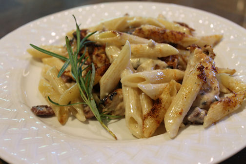 Cheesy Penne Pasta and Grilled Chicken