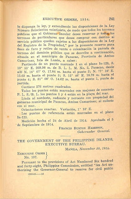 Executive Order No. 107 series of 1914 English version.
