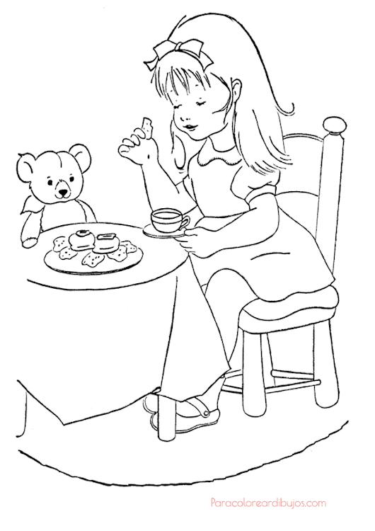 #niña un dibujo para colorear de niña jugando a las comiditas