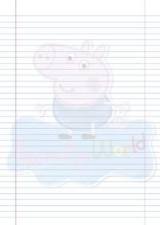 Folha Papel Pautado George Pig raiscado PDF para imprimir na folha A4