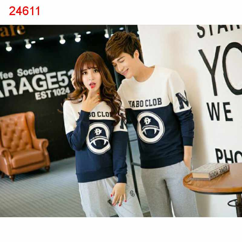 Jual Sweater Couple Sweater Yabo Neo White Navy - 24611