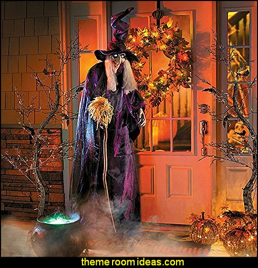 Animated Standing Halloween Witch  Halloween decorations - Halloween decorating props - Halloween theme - Halloween decorating ideas - Halloween decor - wall murals halloween haunted mansion - lifesize standing halloween figures - halloween bedding -