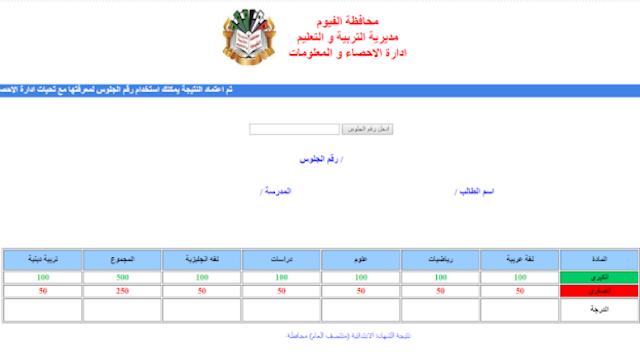 نتيجة الشهادة الاعدادية محافظة الفيوم 2018 أخر العام برقم الجلوس-موقع مديرية التربيه والتعليم بالفيوم