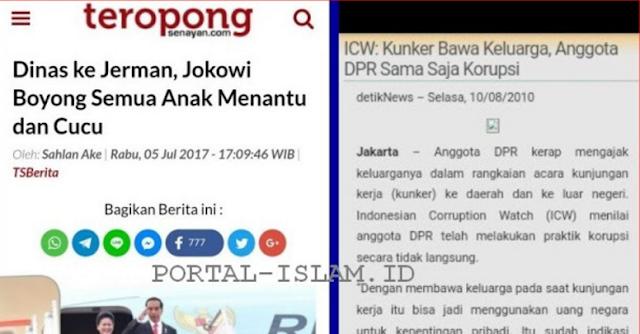 "HALO ICW, Mana Suaramu ""Dinas Bawa Keluarga, Jokowi Sama Saja Korupsi?"""