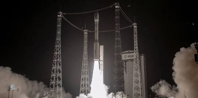 Vega begins its ascent from the Spaceport in French Guiana, carrying Italy's PRISMA Earth observation satellite on the third Arianespace mission of 2019. Credit: Arianespace