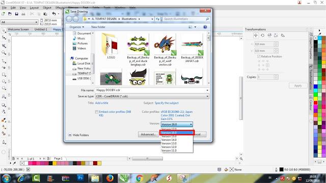 Cara mengatasi Agar file Cdr Dapat di Buka di Semua Versi