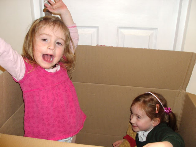 Stephs Two Girls in big cardboard box