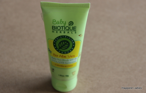 Biotique Bio Aloe Vera Baby Sun Block SPF 20 Review