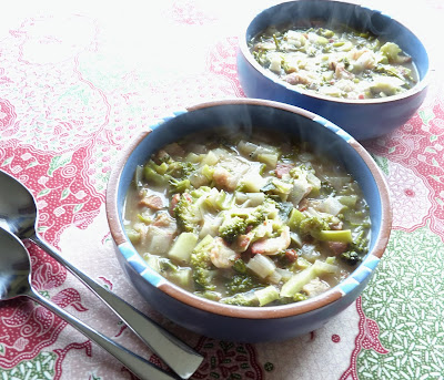 Leek and Broccoli Soup with Bacon