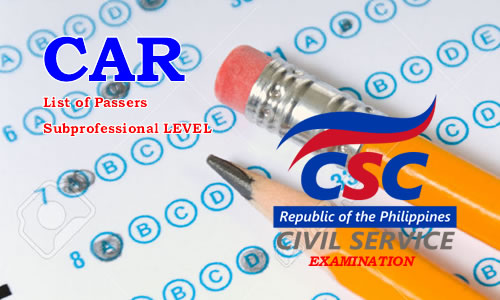 List of Passers CAR August 2017 CSE-PPT Subprofessional Level