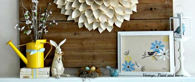 Spring Mantel - book page wreath, vintage rabbit, faux bird nest