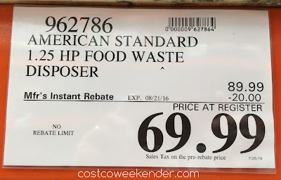 Deal for the American Standard ASD-1250 Food Waste Disposer at Costco