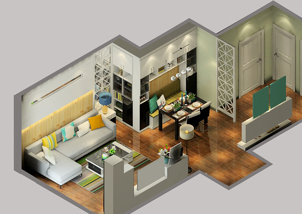 1%2BSky-view-of-modern-living-dining-room-design 35 Sky View 4D American House Plan Styles Interior