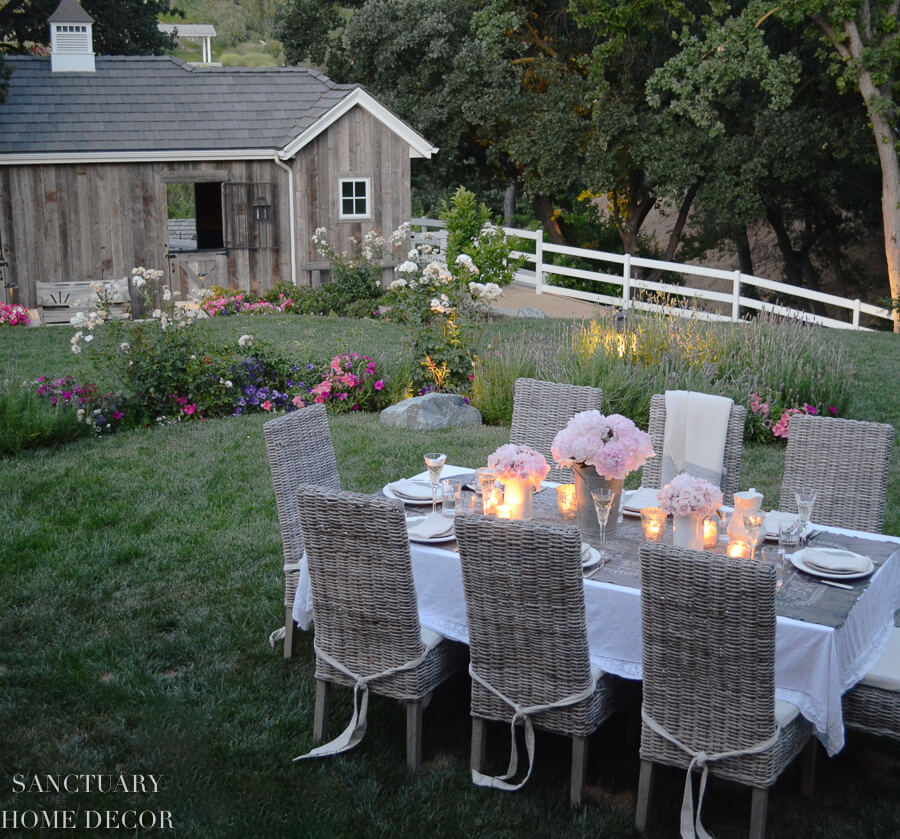 outdoor dining table and horse barn