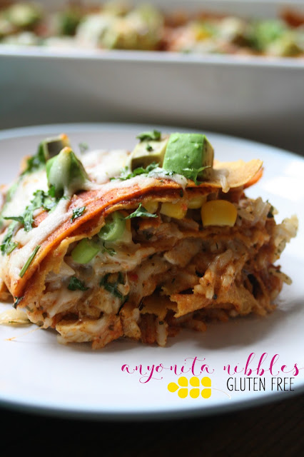 heesy Gluten Free Sweet Potato and Chicken Enchilada Casserole from Anyonita Nibbles