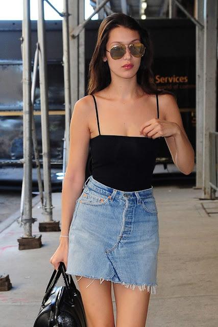 Bella Hadid in Jeans Mini Skirt
