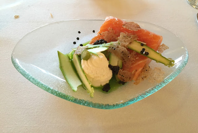 salmon starter at the courtyard ox pasture hall hotel