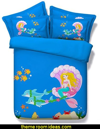 Cartoon Mermaid Digital Printing 4-Piece Duvet Cover Sets