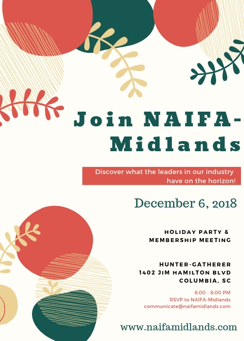 NAIFA Midlands Holiday Party; Thursday, December 6; Hunter-Gatherer @ Curtis Wright Hanger