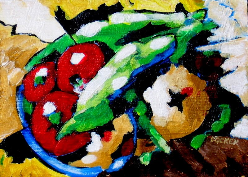 still life painting vegetables in bowl by bruce docker