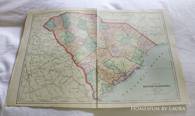 Country Living Fair loot: vintage South Carolina map
