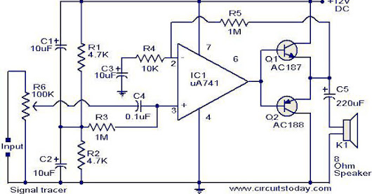 Circuit Schematic Signal Tracer Circuit using 741 IC