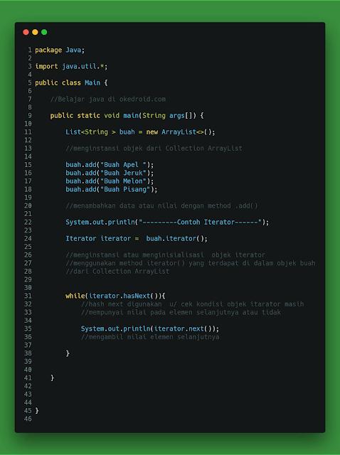Contoh Iterator java