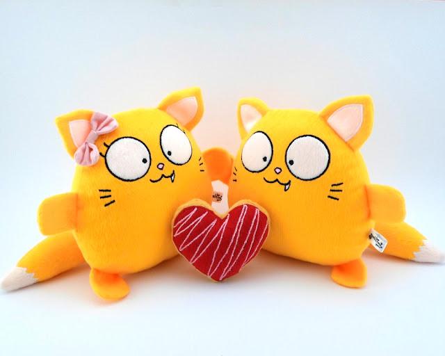 Pareja de boda personalizada, gatos amarillos de peluche guyuminos novios regalo aniversario amor gatito kawaii tierno