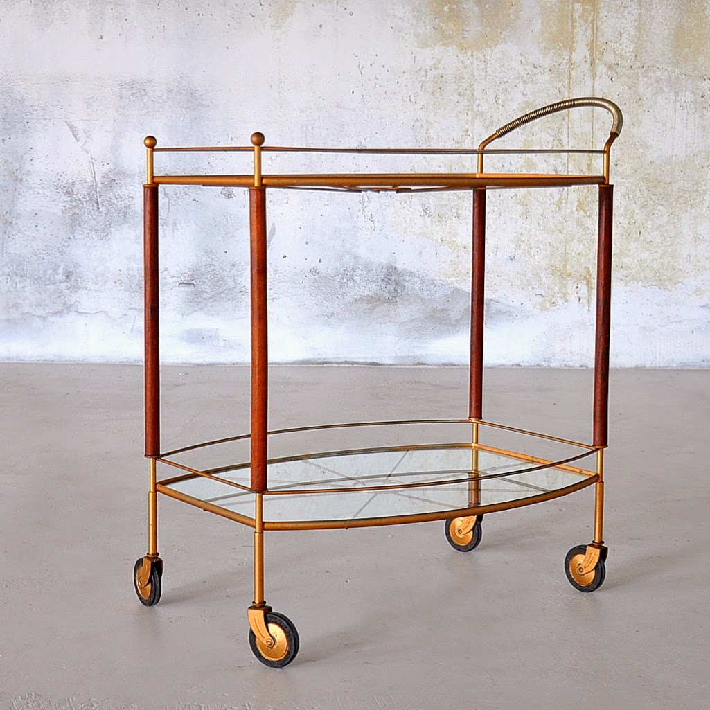 SELECT MODERN: Teak & Bronzed Rolling Bar Cart