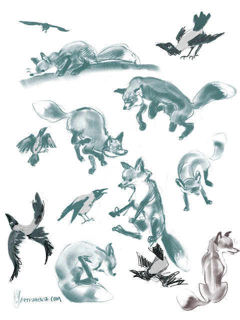 Fox and crow gesture drawings by Artmagenta