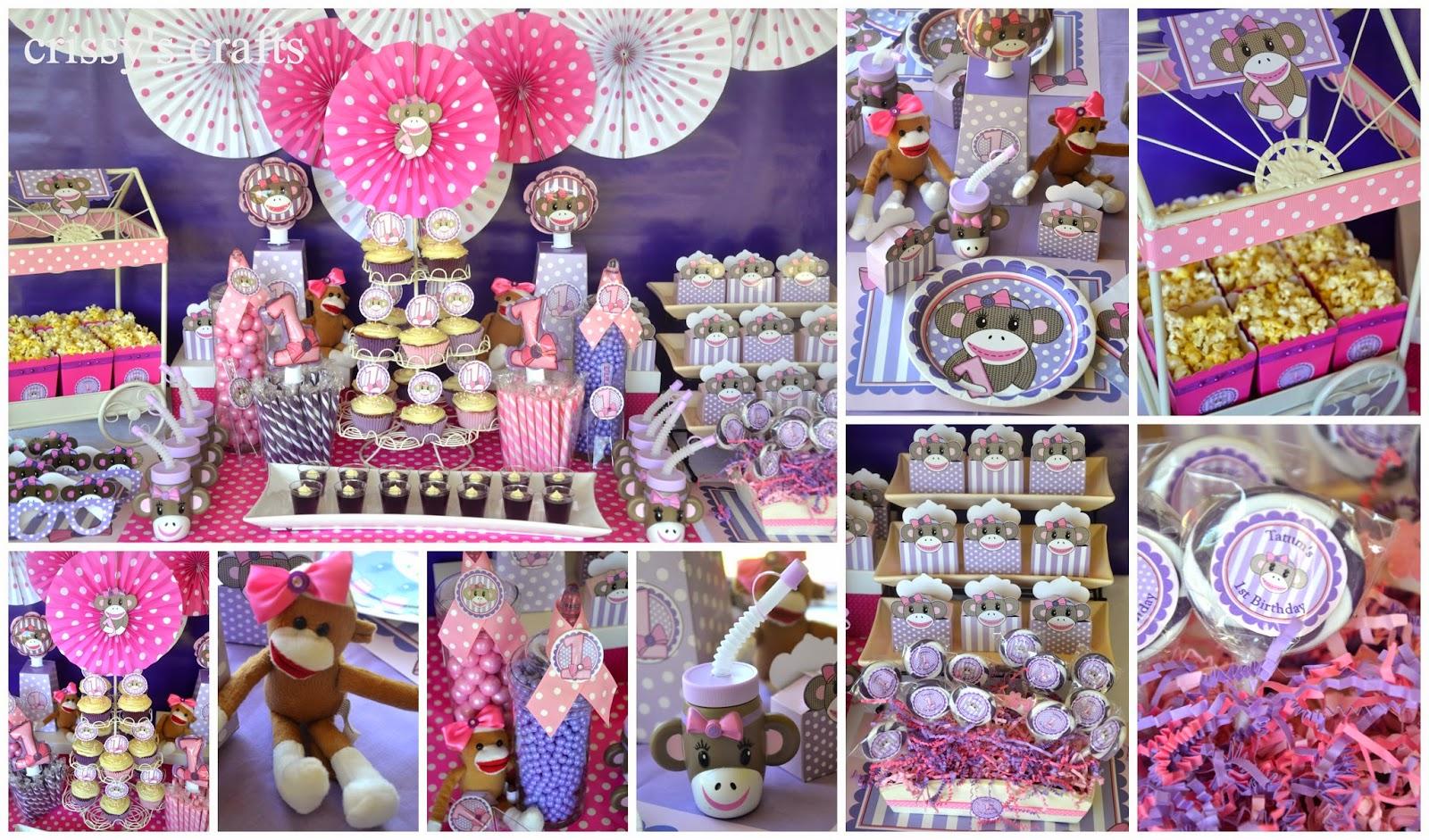 Crissys Crafts 1st Birthday Miss Sock Monkey Party