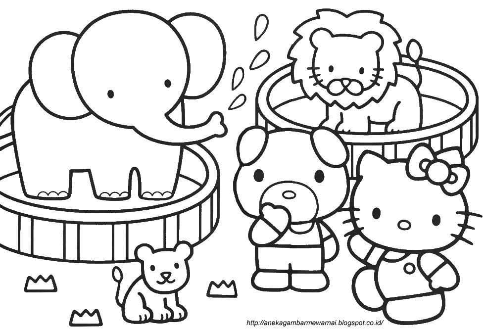 Gambar Mewarnai Hello Kitty Untuk Anak Paud Dan Tk