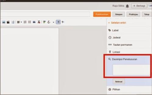 Deskripsi penelusuran pada postingan
