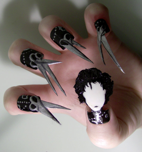 Edward Scissorhands Nail Art