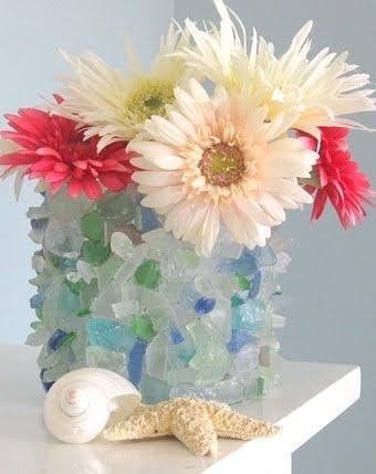 handmade sea glass vase