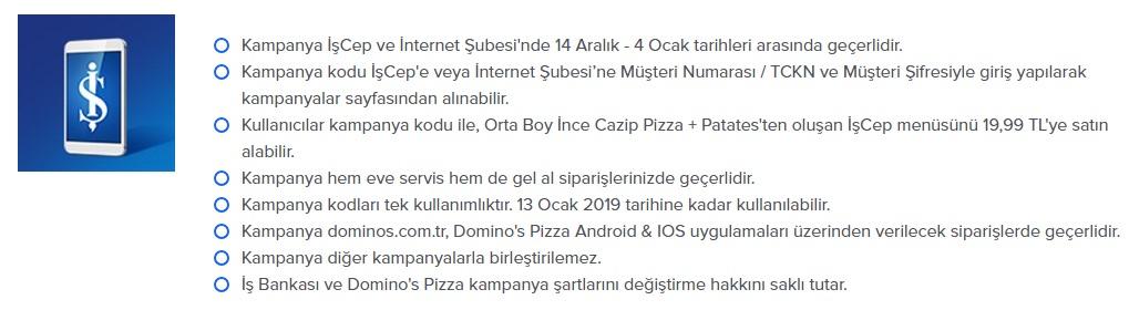 dominos pizza ye kazan promosyon kampanya iş bankası