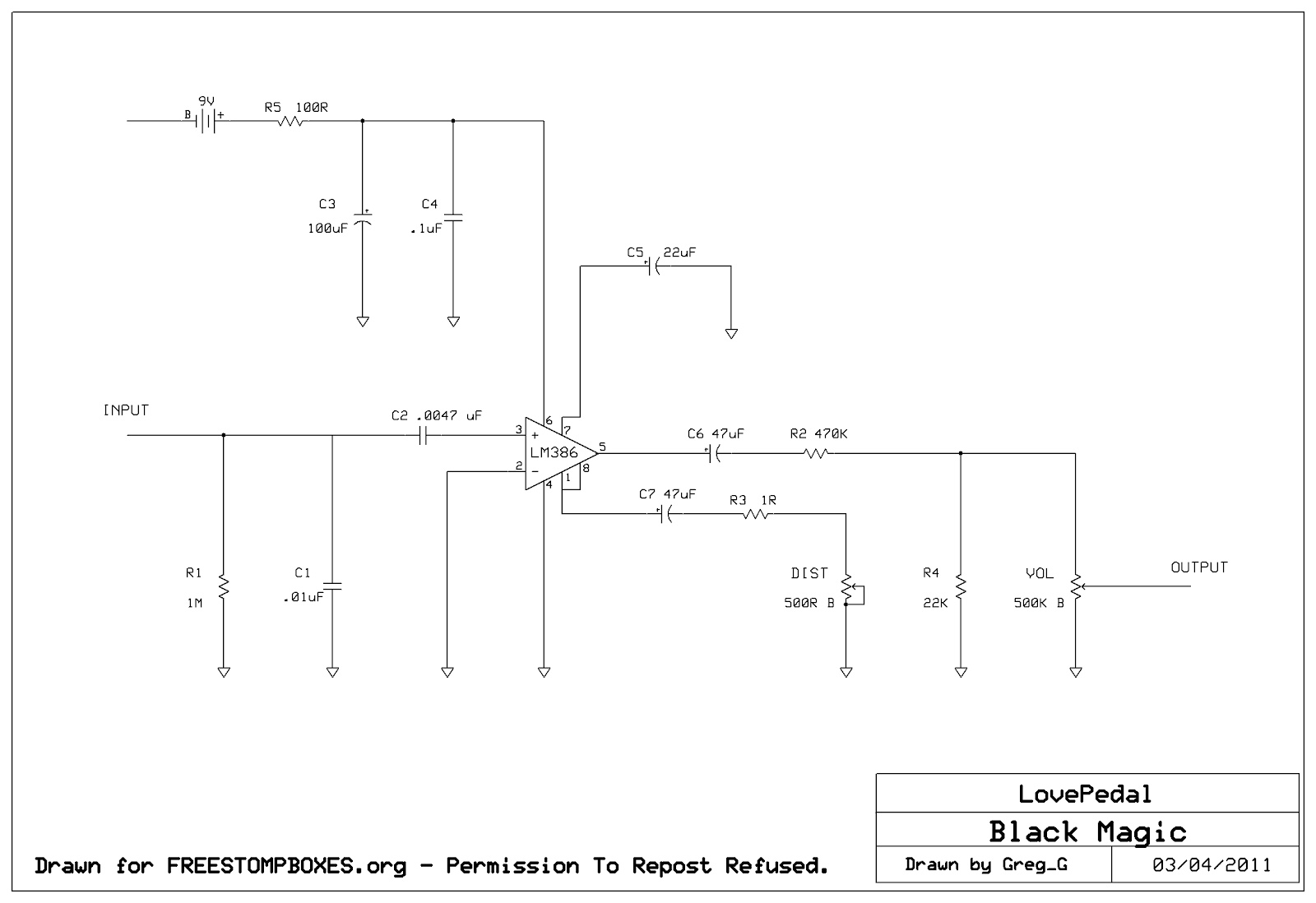 Lovepedal Black Magic Distortion La Rvolution Deux Wiring Diagram For Eddie Van Halen An Attempt To Get Some Brown Sound Tones Greg Over At Freestompboxesorg Picked One Up And Duly Traced It Out Heres The Schematic